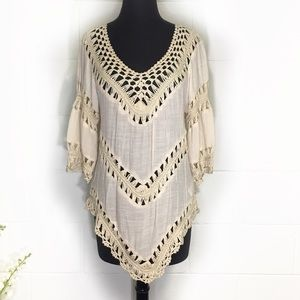 Ecote Boho Tunic Top With Macrame Detailing